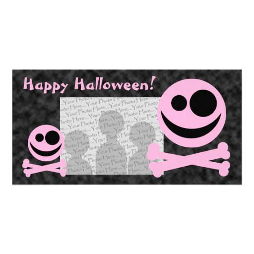 Skull and Crossbones. Pink and Black. Photo Cards
