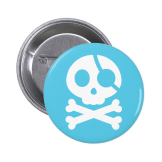 Skull and Crossbones Pirate Button