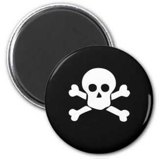 Skull and Crossbones Pirate Magnet on black