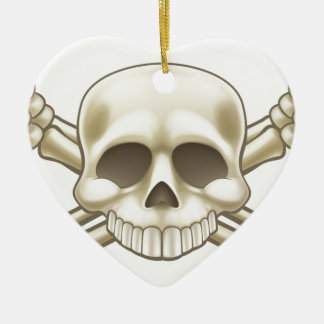 Skull and Crossbones Pirate Sign Ceramic Ornament