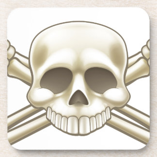 Skull and Crossbones Pirate Sign Coaster