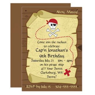 Skull and Crossbones Pirate Treasure Map Birthday Card