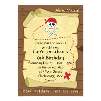 Skull and Crossbones Pirate Treasure Map Birthday Invites