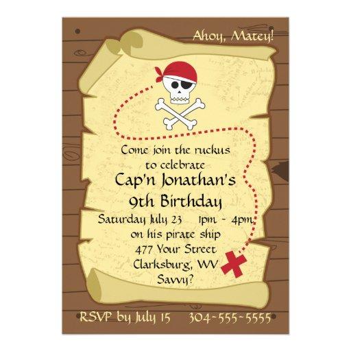 Skull and Crossbones Pirate Treasure Map Birthday Invitation