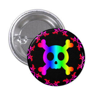 skull and crossbones rainbow button
