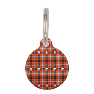 Skull and Crossbones Red and Black Plaid Pet ID Tag