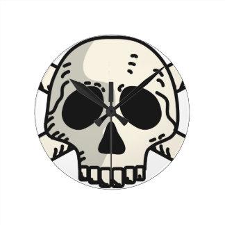 Skull and Crossbones Round Clock