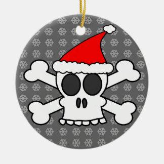 Skull and Crossbones Santa Hat Grey Snowflakes Ceramic Ornament