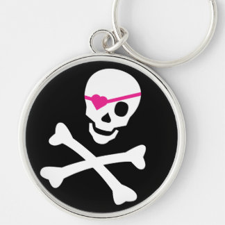 Skull and Crossbones Silver-Colored Round Key Ring
