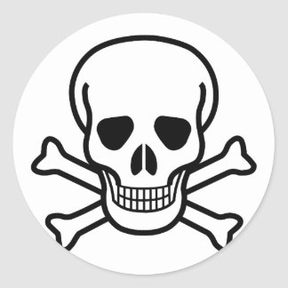Skull and Crossbones Round Stickers