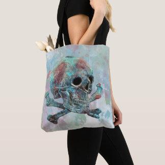 Skull and crossbones watercolor tote bag