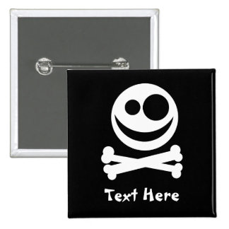 Skull and Crossbones. White and Black. 15 Cm Square Badge