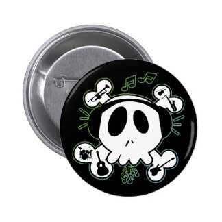 SKULL AND CROSSBONES WITH HEADPHONES 6 CM ROUND BADGE