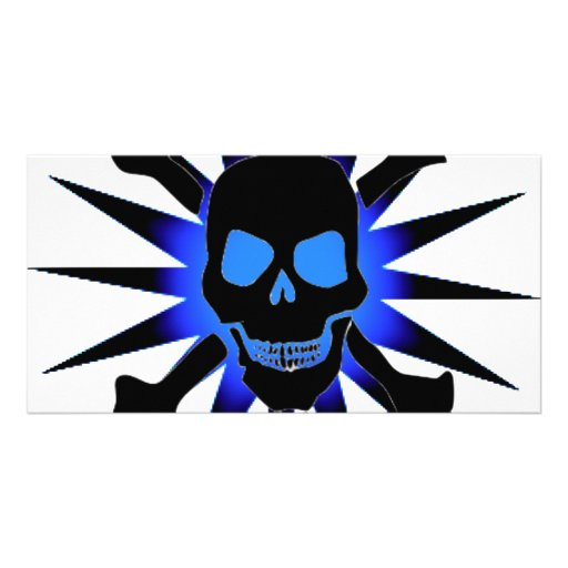 Skull and Crossbones with Starburst Picture Card