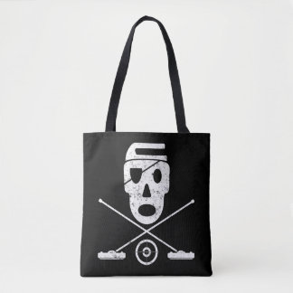 Skull and Crossbrooms - Jolly Roger Curling Design Tote Bag