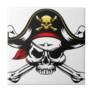 Skull and Crossed Bones Pirate Small Square Tile
