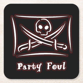 Skull and Crossed Sword Pirate Party Foul Coaster