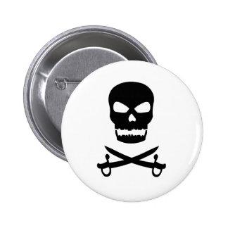Skull and Crossed Swords 6 Cm Round Badge