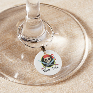 Skull and Crossed Swords - Customizable Wine Charm