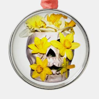 Skull and Daffodils Metal Ornament
