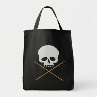 Skull and Drumstick Crossbones Grocery Tote Bag