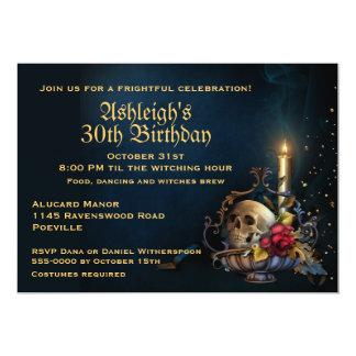 Skull and Fall Leaves Halloween Birthday 13 Cm X 18 Cm Invitation Card