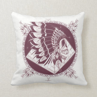 Skull and Feahers Tribal Red Cushion