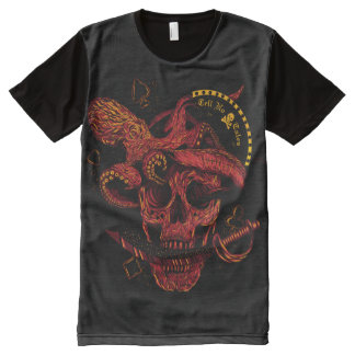Skull and Fishes All-Over Printed Panel T-Shirt All-Over Print T-Shirt