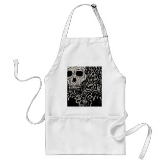 Skull and Flora Etching Standard Apron
