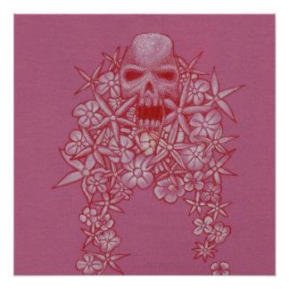 Skull and Flower Poster