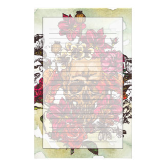 Skull And Flowers Day Of The Dead Custom Stationery