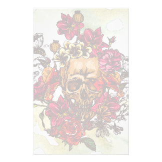 Skull And Flowers Day Of The Dead Customized Stationery