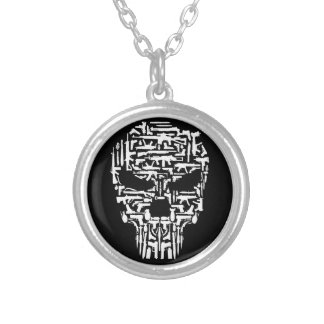 Skull and Guns and Knives Products Silver Plated Necklace