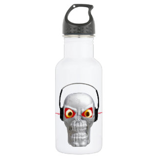 skull and headphones with lightning from ears 532 ml water bottle