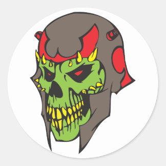 Skull and Helmet Classic Round Sticker
