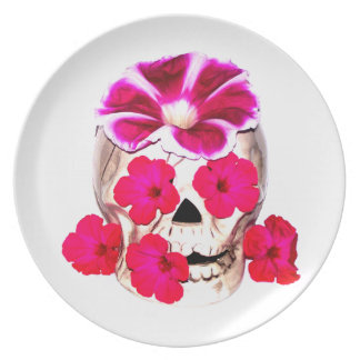 Skull and Hot Pink Flowers Plate