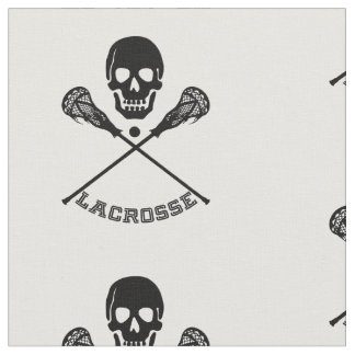 Skull and Lacrosse Sticks Fabric