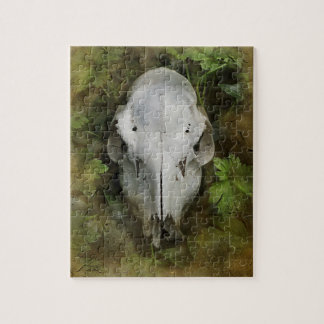Skull and Leaves Jigsaw Puzzle