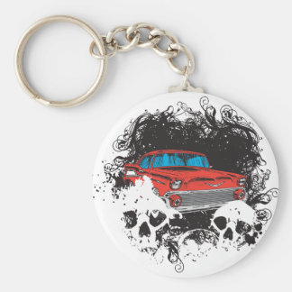 Skull and Muscle Car Key Chain