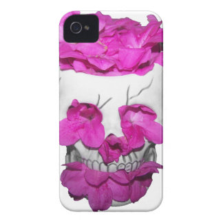 Skull and Pink Flowers iPhone 4 Covers