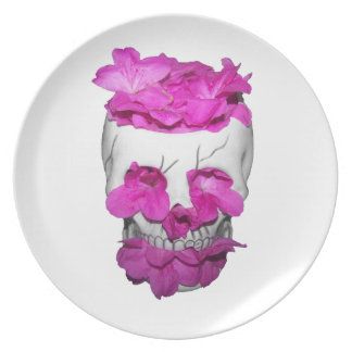Skull and Pink Flowers Plate
