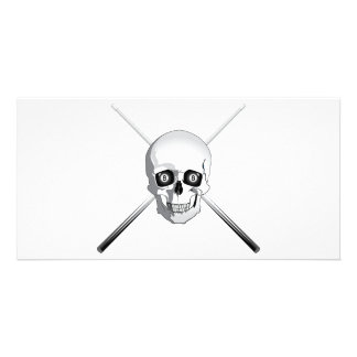 Skull and Pool Cues Photo Card