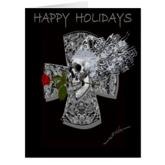 Skull and Red Rose Card