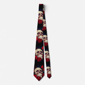 skull and red roses mens tie