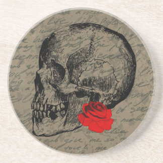 Skull and rose beverage coasters