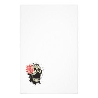 Skull and rose custom stationery