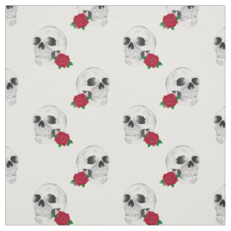 Skull and Rose Fabric