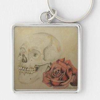 Skull and Rose Keychain