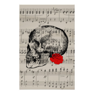 Skull and rose stationery paper