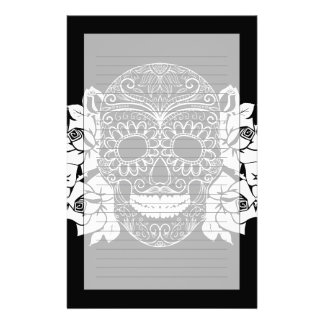 Skull And Roses, Black And White Day Of The Dead Custom Stationery